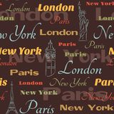Seamless pattern with symbols of cities Royalty Free Stock Photo