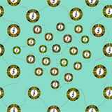 Seamless pattern with symbols of different colors. In the shape of circles on a green background Stock Photos