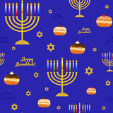 Seamless pattern with symbols for holiday of Hanukkah Royalty Free Stock Images
