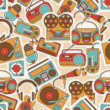 Seamless pattern with symbols of music and audio icons. Royalty Free Stock Image
