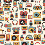 Seamless pattern with symbols of music and audio icons. Seamless pattern with symbols of retro tape, cassette, boombox, turntable, records Royalty Free Illustration