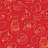 Seamless pattern with symbols of Rosh Hashanah Stock Image