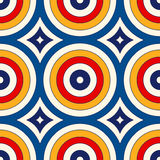 Seamless pattern with symmetric geometric ornament. Abstract background with colorful round vortexes. Stock Image