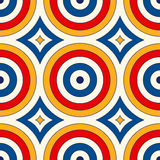 Seamless pattern with symmetric geometric ornament. Abstract background with colorful round vortexes. Royalty Free Stock Photo