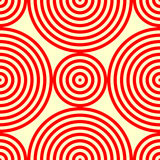 Seamless pattern with symmetric geometric ornament. Abstract background with red white round vortexes. Vector illustration Royalty Free Stock Photo