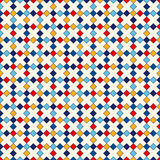 Seamless pattern with symmetric geometric ornament. Abstract repeated bright squares and rhombuses background. Ethnic mosaic, stained glass wallpaper. Vector Stock Image