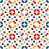 Seamless pattern with symmetric geometric ornament. Abstract repeated bright squares and rhombuses background. Ethnic mosaic, stained glass wallpaper. Vector Stock Images