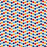 Seamless pattern with symmetric geometric ornament. Abstract repeated bright squares and rhombuses background. Ethnic mosaic, stained glass wallpaper. Vector Royalty Free Stock Photo