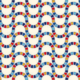 Seamless pattern with symmetric geometric ornament. Abstract stained glass bright background. Ethnic wallpaper. Royalty Free Stock Photo