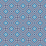 Seamless pattern with symmetric geometric ornament. Blue abstract background. Stock Photos