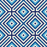 Seamless pattern with symmetric geometric ornament. Blue abstract background. Royalty Free Stock Photos