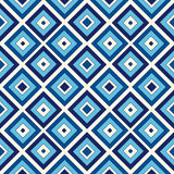 Seamless pattern with symmetric geometric ornament. Blue abstract background. Stock Photo