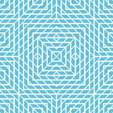 Seamless pattern with symmetric geometric ornament. Blue color abstract background. Stock Image