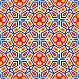 Seamless pattern with symmetric geometric ornament. Bright abstract background. Royalty Free Stock Photos