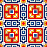 Seamless pattern with symmetric geometric ornament. Bright abstract background. Royalty Free Stock Images