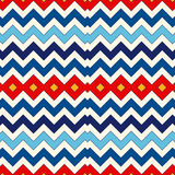 Seamless pattern with symmetric geometric ornament. Chevron zigzag bright colors horizontal lines abstract background. Royalty Free Stock Photo