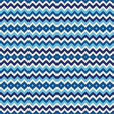 Seamless pattern with symmetric geometric ornament. Chevron zigzag bright colors horizontal lines abstract background. Stock Image