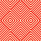 Seamless pattern with symmetric geometric ornament. Striped red white abstract background. Stock Photo