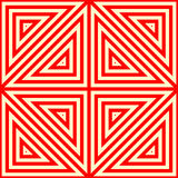 Seamless pattern with symmetric geometric ornament. Striped red white abstract background. Stock Photos