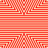 Seamless pattern with symmetric geometric ornament. Striped red white abstract background. Royalty Free Stock Images