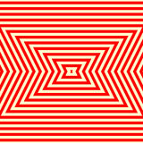 Seamless pattern with symmetric geometric ornament. Striped red white abstract background. Stock Image