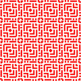 Seamless pattern with symmetric ornament. Different geometric red figures abstract on white background. Lines motif. Royalty Free Stock Photo