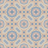 Seamless pattern with symmetric ornament. Geometric figures abstract on white background. Ethnic and tribal motifs. Royalty Free Stock Image