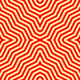 Seamless pattern with symmetric ornament. Red abstract on yellow background. Psychedelic wallpaper. Lines motif. Vector Stock Photo