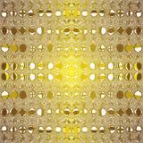 Seamless pattern with symmetric row of grunge striped circles. In golden and brown colors Royalty Free Stock Image