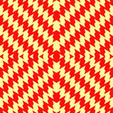 Seamless pattern with symmetric wavy lines ornament. Red color jagged stripes on yellow background. Zigzag motif. Vector Royalty Free Stock Photos