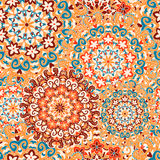 Seamless pattern with symmetrical mandalas. Ethnic texture Stock Photography
