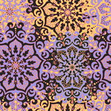 Seamless pattern with symmetrical mandalas. Ethnic texture in Royalty Free Stock Photography