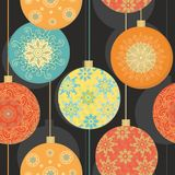 Seamless pattern with t christmas christal balls Royalty Free Stock Photos