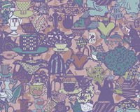 Seamless pattern with tableware. Royalty Free Stock Image