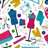 Seamless pattern for tailor shop with different sewing tools. Background needlework tools, thread and needle. Vector illustration Royalty Free Stock Images