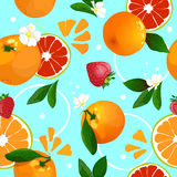 Seamless pattern of tangerines. Background Royalty Free Stock Photos