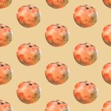 Seamless watercolor pattern with tangerines on beige background vector illustration