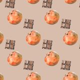 Pattern with tangerines and chocolate on beige background stock illustration