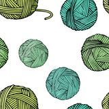 Seamless pattern with tangles of different colors with yarn for knitting. Vector illustration in sketch style. stock illustration