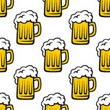 Seamless pattern of tankards with frothy beer Stock Photo