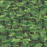 Seamless pattern with tanks on camouflage background Stock Photos
