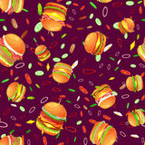 Seamless pattern tasty burger grilled beef and fresh vegetables dressed with sauce bun for snack, american hamburger Stock Photos