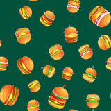 Seamless pattern tasty burger grilled beef and fresh vegetables dressed with sauce bun for snack, american hamburger Royalty Free Stock Photo