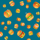 Seamless pattern tasty burger grilled beef and fresh vegetables dressed with sauce bun for snack, american hamburger Royalty Free Stock Photography