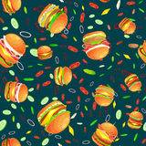 Seamless pattern tasty burger grilled beef and fresh vegetables dressed with sauce bun for snack, american hamburger Royalty Free Stock Photos