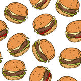 Seamless Pattern with Tasty Burger Royalty Free Stock Photos
