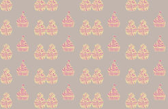 Seamless pattern with tasty cup cakes Royalty Free Stock Photo