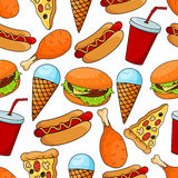Seamless pattern of tasty fast food Royalty Free Stock Photography