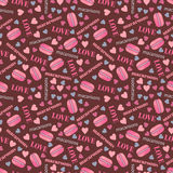 Seamless pattern with tasty macaroons, hearts and love Royalty Free Stock Image