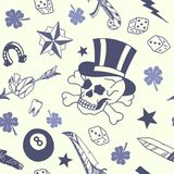 Seamless pattern with traditional tattoo designs: dice, clover, knife, lightning bolt, panther, tattoo machine, tooth, snake, hors Royalty Free Stock Photos